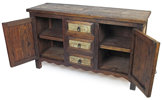 Rustic Sideboard with Weathered Whitewashed Panels - 2 Door - 3 Draw