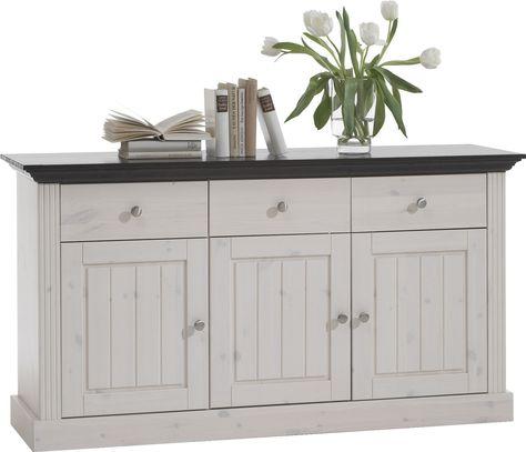3 door 3 drawer sideboard solid pine white wash | White sideboard .