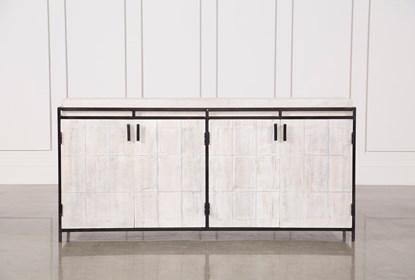 White Wash Finish 4-Door Large Sideboard | Living Spac