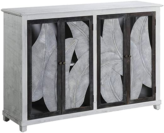 Amazon.com: Whitewash Solid Wood 4-Door Sideboard Grey Off-White .