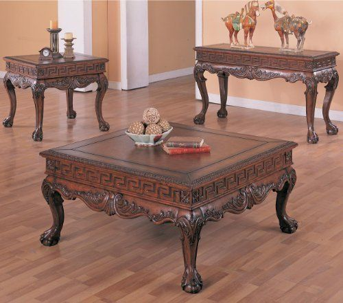 Arcata Coffee Table Set with Ball and Claw Design in Dark Brown by .