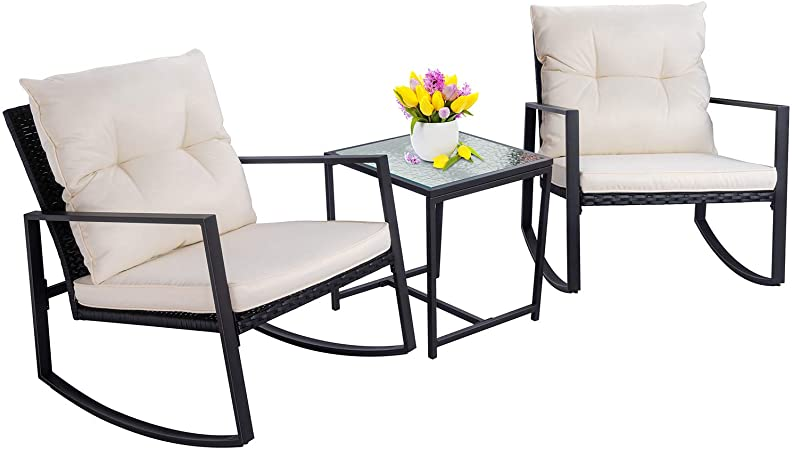 Amazon.com: Walsunny 3 Pieces Patio Set Outdoor Wicker Patio .