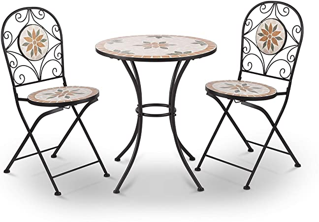 Amazon.com: Alpine Corporation 3-Piece Mosaic Bistro Set - Outdoor .