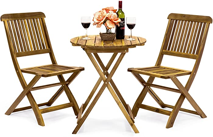 Amazon.com: Best Choice Products 3-Piece Folding Acacia Wood Patio .