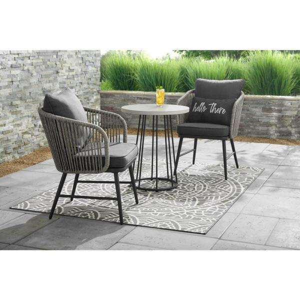Hampton Bay Paden 3-Piece Wicker Outdoor Patio Bistro Set with .