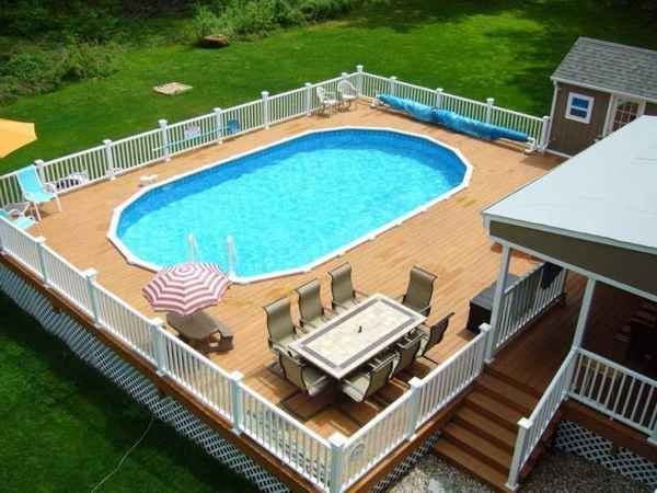 Above ground pool deck off house | Furniture Design Gallery | Pool .