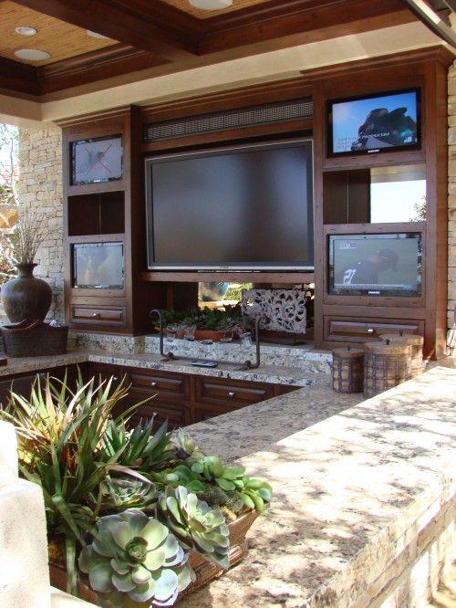 Backyard Sports Bar | Home, Outdoor kitchen design, Outdoor livi