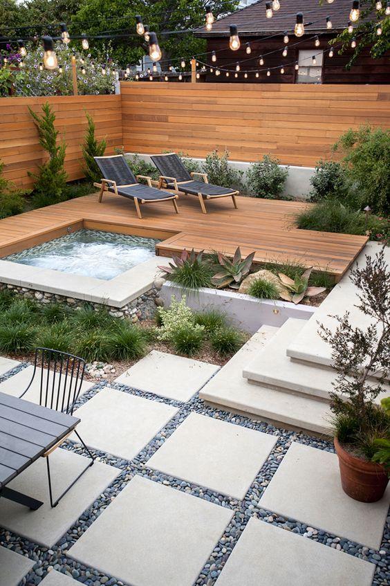 Pin by Amy Mack on hot tubs   Backyard garden design, Backyard .