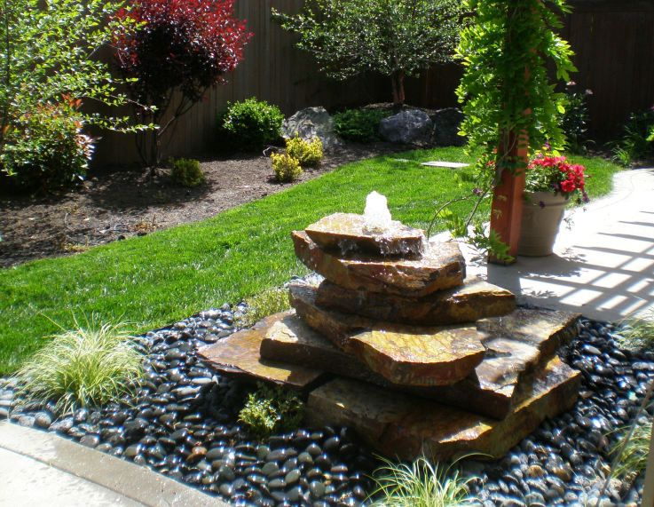 Stacked Stone Bubbler | Fountains backyard, Rustic landscaping .
