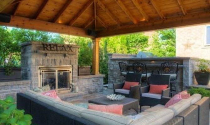 Backyard Gazebo Fireplace Pergola Gazebos - House Plans   #1057