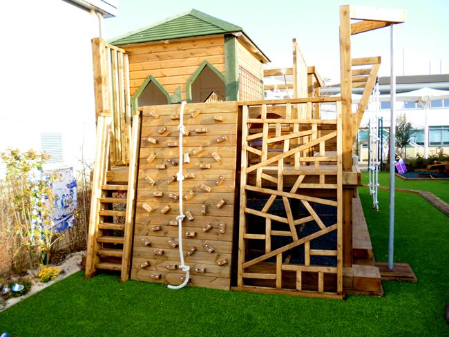 playground with unique climbing wall | Backyard play, Playground .