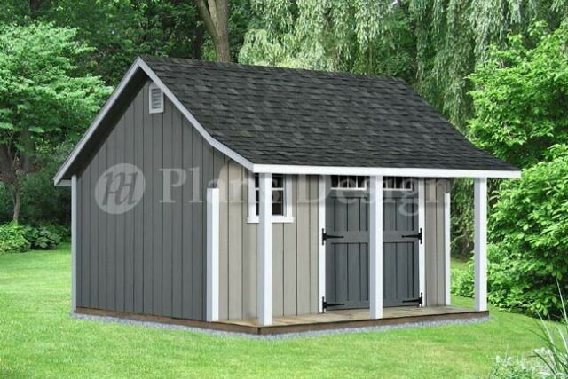 14' x 12' Backyard Storage Shed with Porch Plans #P81412, Free .