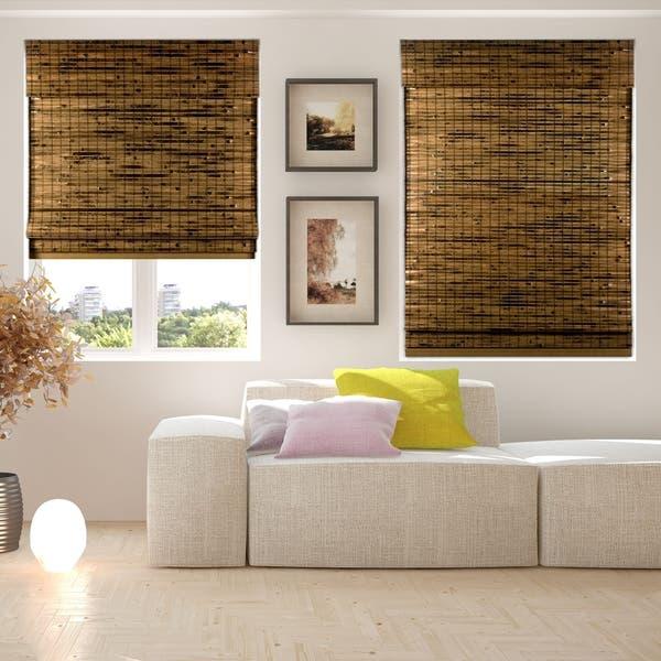 Shop Arlo Blinds Cordless Lift Java Deep Bamboo Shades with 60 .