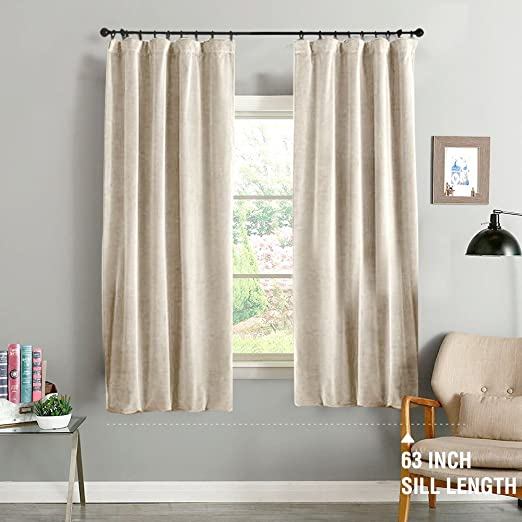 Amazon.com: jinchan Beige Curtains Velvet Drapes Bedroom Window .