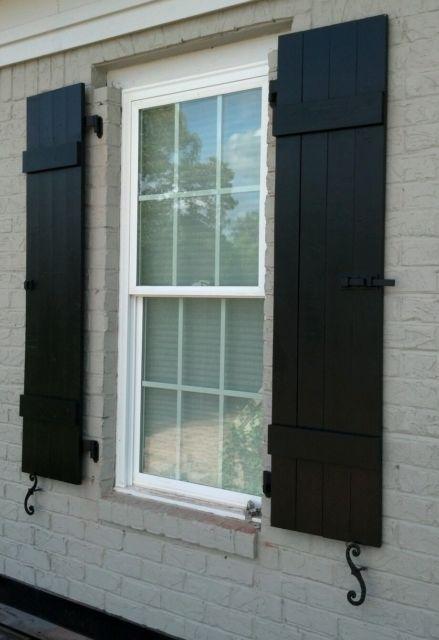 Custom -Black- Board and Batten Wood Shutters | House shutters .