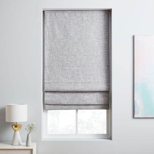 Crossweave Cordless Roman Shades & Blackout Lining - Stone Whi