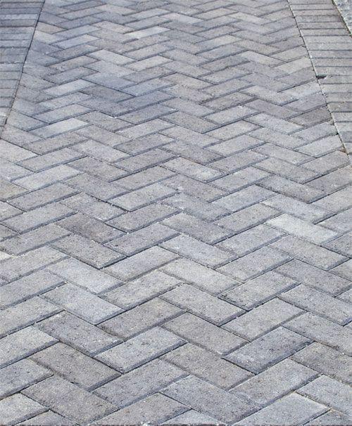 Grey Herringbone Brick Walkway | Grey pavers, Driveway design .