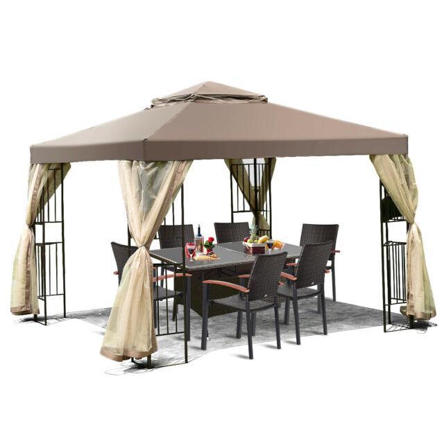 Tangkula 10'x13' Gazebo Fully Enclosed Canopy Tent Shelter Awning .