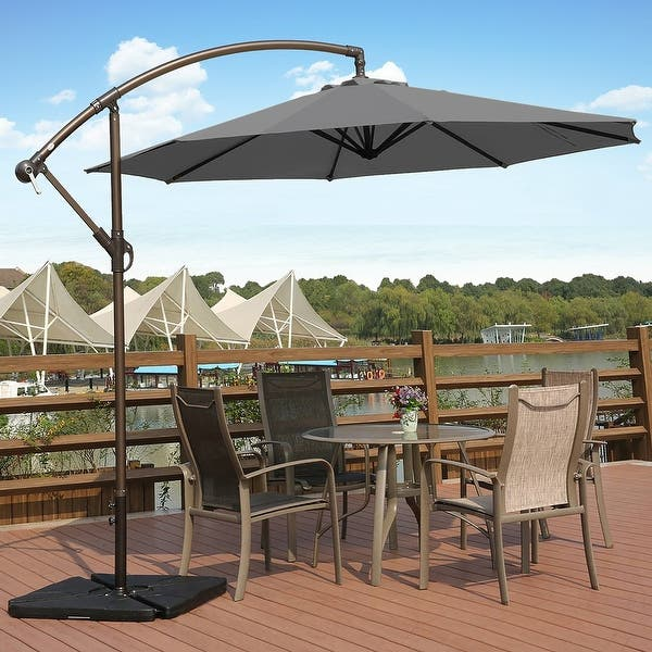 Shop Weller 10' Offset Cantilever Hanging Patio Umbrella, Base Not .