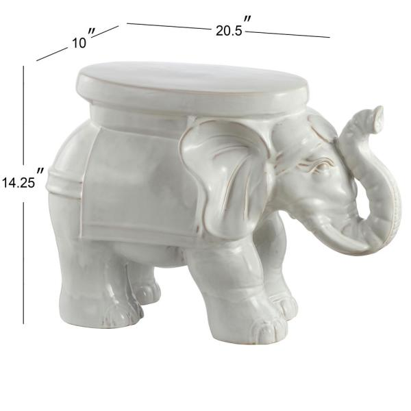 JONATHAN Y White Elephant 14.2 in. Antique White Ceramic Garden .