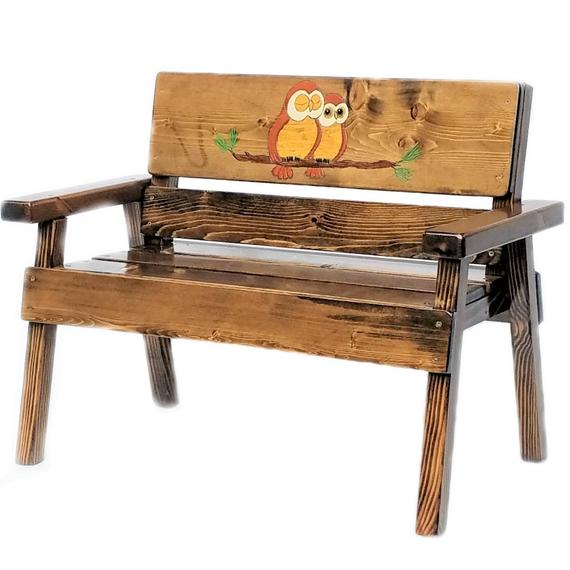 Owl Wood Bench Childrens Outdoor Furniture Kids Wood | Et
