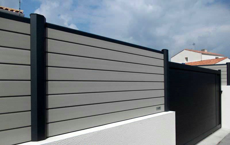 black composite fence in backyard, composite wood fence privacy .