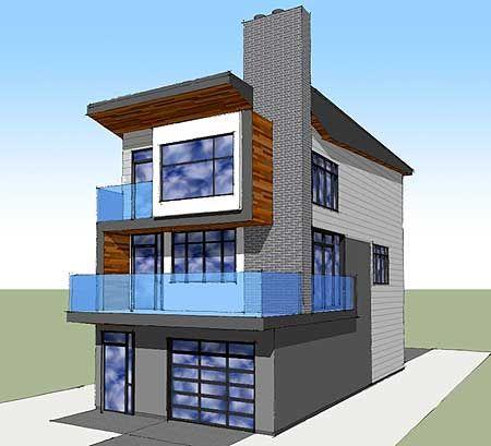 Narrow Lot Contemporary Home Plan | Modern beach house, Beach .