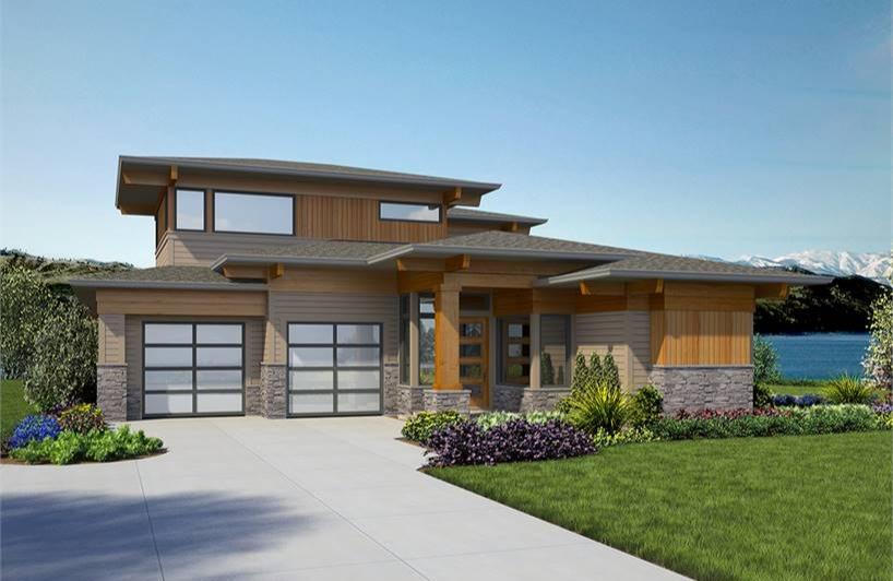 4-Bed Contemporary Prairie House Plan 7474 with Bonus Ro