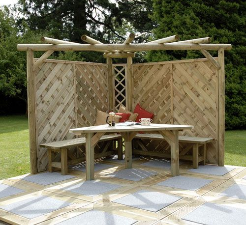 Table and Benches | Pergola designs, Outdoor curtains, Corner pergo