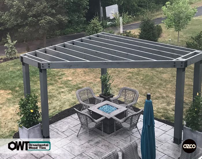 Corner Pergola using OZCO Post to Beam wood ties in Ironwood .