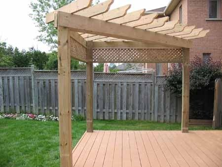 corner pergola - Google Search | Deck with pergola, Backyard .