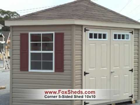 Corner Shed, 5-Sided Shed 10x10 from Fox's Country Sheds - YouTu