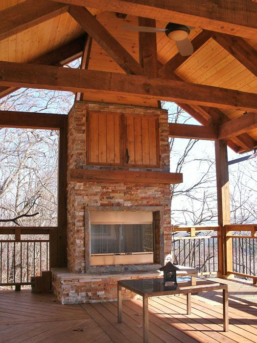 outdoor covered high deck with fireplace | Covered Deck With .