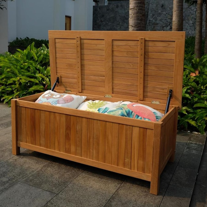 Cambridge Casual Heaton 48-in Teak Outdoor Storage Deck Box in the .