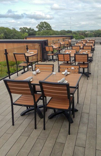 Our Atlantic outdoor furniture collection on a rooftop bar .