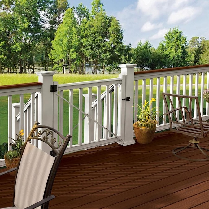 Freedom 48-in L x 36-in H White PVC Deck Railing Gate in the Deck .