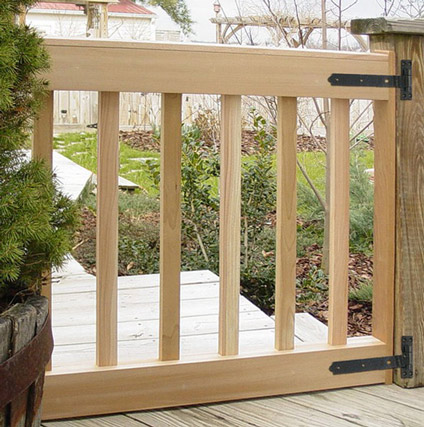 Custom Deck Gates in your size & slat spacing. Cedar gates USA ma