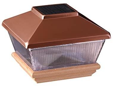 "Amazon.com : Copper Top Solar LED Light 4"" x 4"" Post Caps for ."