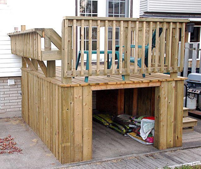 Under deck storage for gardening supplies | Under deck storage .