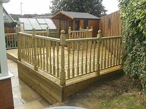 10x Wood Decking Spindles Balustrade Railings Set - Decking Panel .