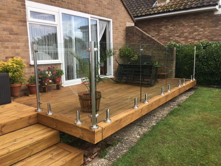 Garden decking balustrade - Exmouth, Devon - Clearly Glass | Deck .