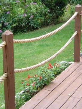 """Decorative rope up the """"approach"""" to the dock. Very nautical. Very ."""