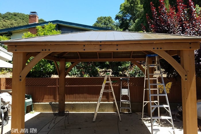 Build a DIY Patio Gazebo from a Kit - and save big money - Girl .