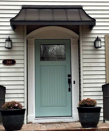 The perfect front door awning . This is the Bronze Juliet style .