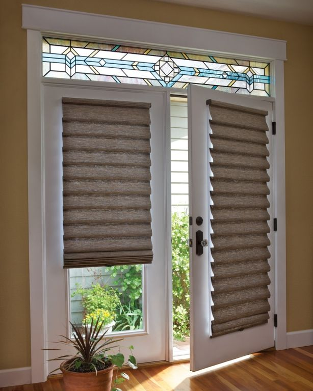 Custom Roman Shades look great on French doors. Description from .