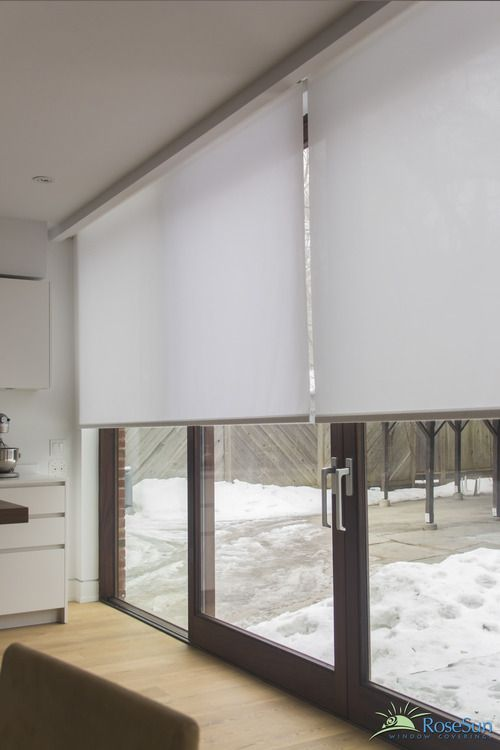 Electric blinds can have large glass areas covered. | Sliding door .