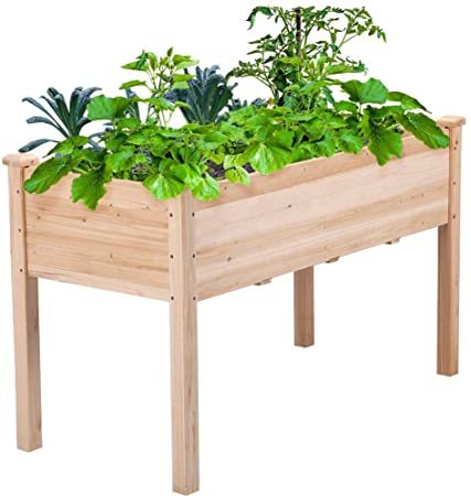 Amazon.com: Topeakmart Solid Wood Raised Garden Bed Rectangle .