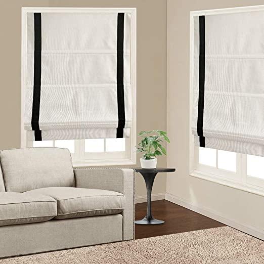 Amazon.com: Roman Shades Window Blinds, White Black Premium .