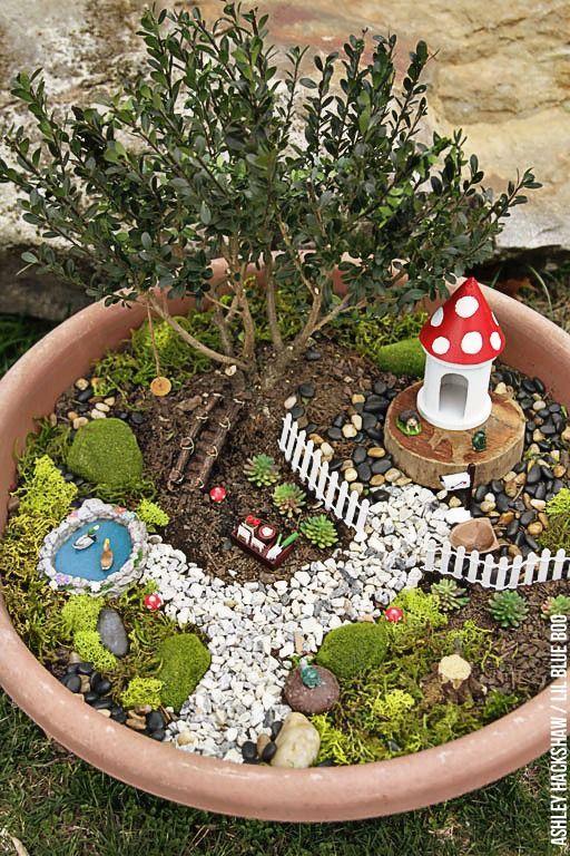 Fairy Garden Ideas - How to make a Bonsai Tree Fairy Garden .