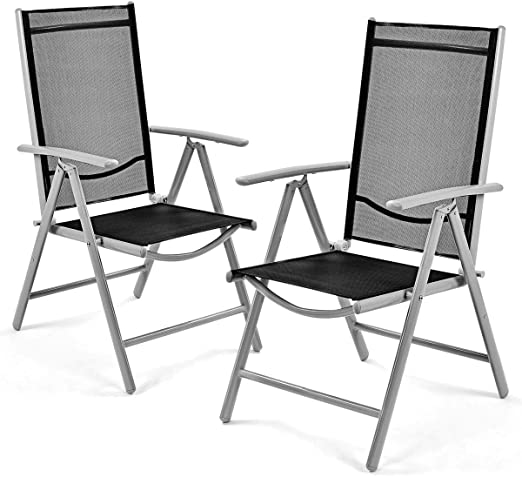 Amazon.com: Giantex Set of 2 Patio Folding Chairs Adjustable .